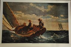 Winslow Homer Breezing It Up Vintage Lithograph printed in the late 1960's. Offset Lithograph. Printed in Deeptone by R. R. Donnelly and Sons. Printed on good quality strong paper stock. Print is in v