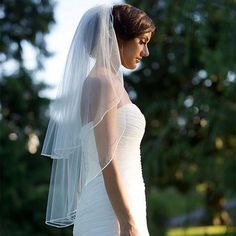 Kiss Me You Fool Pencil Edge Two-Tier Veil