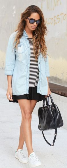 Denim On Stripes Outfit Idea by Stellawantstodie