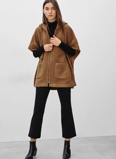 This cozy poncho is designed with an easy zip front and drawstring hood that's accented with oversized tassles. It has dolman sleeves, large pockets at the hip, and is made with a heavy wool blend with a textural look and felted hand feel. Blouses For Women, Sweaters For Women, Confident Woman, Jacket Dress, Stay Warm, Wool Blend, Autumn Fashion, Normcore, Turtle Neck