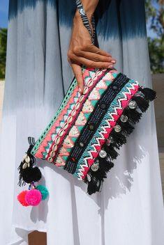 Tassels pouch Beaded purse bohemian pouch tassels Summer  208358b74d