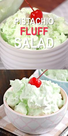 fruit salad Easy, 4 ingredient Pistachio Fluff Salad, also known simply as Pistachio Salad or Watergate Salad! Best served with friends and family, this recipe makes a great potluck dish! Fluff Desserts, Dessert Salads, Jello Recipes, Pudding Desserts, Köstliche Desserts, Delicious Desserts, Yummy Food, Green Desserts, Potluck Salad