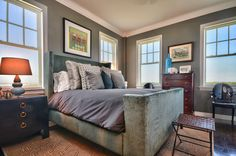 In this transitional gray guest room, a family heirloom chest of drawers serves as the centerpiece f Contemporary Bedroom, Contemporary Style, Grey Upholstered Bed, Bedroom Images, Space Saving Furniture, Grey Walls, Guest Room, House Design, Interior Design