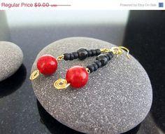 ON SALE Sponge Coral Earrings Red Black Gemstone by MsBsDesigns, $6.75