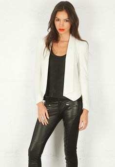 Rebecca Minkoff Becky Jacket. I really love this look of white blazer, tank and pleather pants