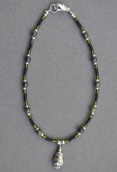 Jewelry - Anklets - Black and Green Stone Anklet by JewelryArtByGail on Etsy