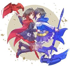 RWBY ruby and blue ruby<< BLAZBLUE CROSSTAG BATTLE uses this design in their new game!