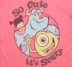 Girls Monsters So Cute Its Scary Pink T-Shirt Front