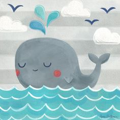 "Oopsy Daisy ""Let's Set Sail Whale"" by Anne Bollman Canvas Art 
