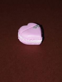 60 Marque place rose & gris perle macaron en forme de coeur et petit nœud - Marque place mariage, baptême, anniversaire : Cuisine et service de table par nessygan