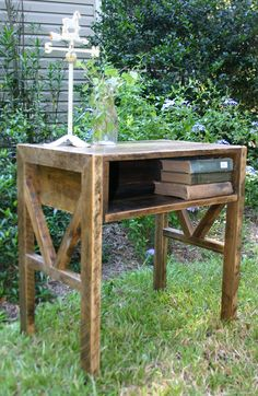 Reclaimed Wood  End Table Bed Side Table Rustic. $160.00, via Etsy.