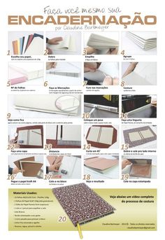 """""""encadernação."""" Book binding tutorial infographic and accompanying video."""