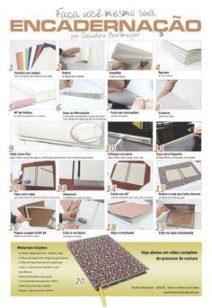 """encadernação."" Book binding tutorial infographic and accompanying video.  Looks like a good way for me to do mine!"