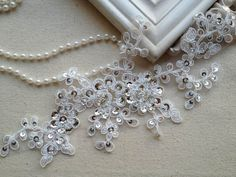 $5.99  Ivory Alencon Bridal Beaded Lace Applique with Silver Sequins for Weddings, Sashes, Veils, Headpieces