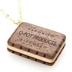 Wood Choco Biscuit Necklace from Q-Pot