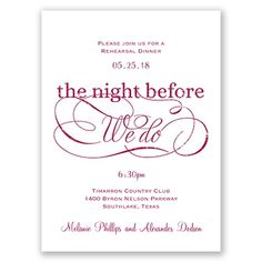 The Night Before We Do - wedding rehearsal dinner invitation from Invitations by Dawn