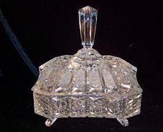 ✿ڿڰۣ(̆̃̃•Aussiegirl  vintage crystal candy dish...I have a collection of this vintage crystal put away...I will never get rid of it!