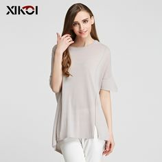 Thin Solid O-Neck Soft Pullovers Flat Knitted Women Novelty Sweater