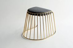 Bride's Veil Low Stool, chrome plated steel bar base with upholstered seat #furniture #design #stool