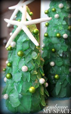 Sea Glass Christmas Trees #seaglass #diy #christmas