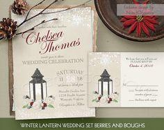 Winter Wedding Invitations Set Rustic Metal Lantern Cream Roses Vintage Paper Romantic Lights Snowflakes Greenery RSVP DIY Digital printable by NotedOccasions