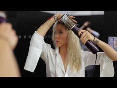 Hairdresser skills at Gym - with Babyliss BEliss rotating brush - YouTube