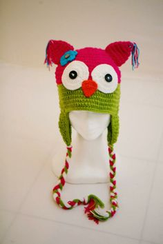 Owl Crochet Hat- Pink and Green in sizes 4yrs to adult. Have a hoot of a time keeping warm this winter.