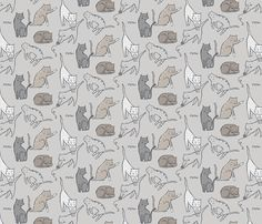Meow Mixer (Neutral)  fabric by leanne on Spoonflower - custom fabric