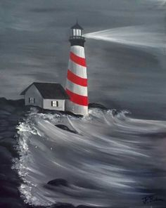 Beginners learn to paint acrylic Aurora Borealis landscape 25 simple and simple lighthouse painting ideas for beginners Artist Painting, Painting & Drawing, Watercolor Paintings, Painting Doors, Lighthouse Painting, Beginner Painting, Oil Painting For Beginners, Easy Paintings, Learn To Paint