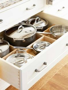 kitchen organization. Large drawers instead of stacking things in cupboards. Love!!