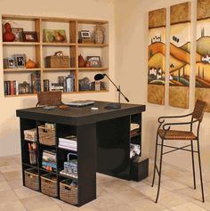 Venture Horizon Project Center Desk with Bookcase and 3 Bin Cabinet-Black Counter Height Desk, Computer Armoire, Craft Desk, Craft Rooms, Craft Tables, Craft Space, Kids Rooms, Modern Bookcase, Craft Organization