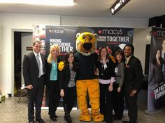 Macy's reps pose with Truman the Tiger at the spring career fair!