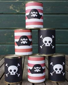 Planning a Pirate Party?  How cool is this pirate themed can toss game? . PC…