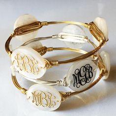 Triple Monogram Bangle Wire Bracelet w/ Engraved Acrylic Monogram / Monogrammed Bracelet