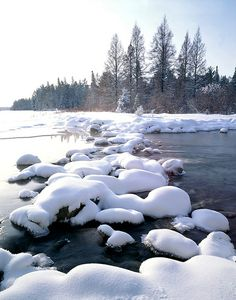 Winter scene at the Mississippi Headwaters in Itasca State Park near Park Rapids, Minnesota.  Hah hah, let's see ya walk across these rocks now, eh? ;-)
