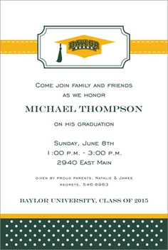 #Baylor University graduation invitations