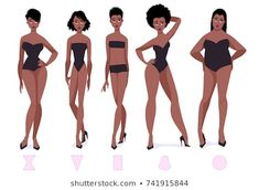Set of female body shape types - five types. illustration of set of female body shape types five types and more royalty free vectors of human body royalty free vector Silhouette Images, Woman Silhouette, Female Character Design, Character Design Inspiration, Body Shape Chart, Cartoon Body, Types Of Body Shapes, Female Drawing, Body Shaming