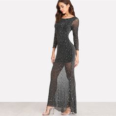 Colrovie 2018 Party Dress Black Scoop Neck Backless Long Sleeve Maxi Dress Women Lettuce Edge Open Back Sparkle Mesh Dress Long Sleeve Mesh Dress, Maxi Dress With Sleeves, The Dress, Dress P, Sleeve Dresses, Dress Clothes, Bh Tricks, Grey Fashion, Ootd Fashion