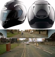 Helmet with Rear View. You can see coming and going. Very cool.
