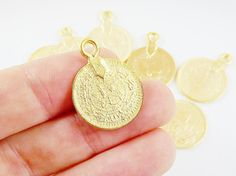 10 Large Rustic Round Coin Charms - 22k Matte Gold Plated Brass
