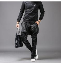 #Mens #Casual #Fashion #Slim #Harem #Black #Leather #Trousers #Cargo #Pants Mens Leather Pants, Cargo Pants, Parachute Pants, Black Leather, Men Casual, Slim, Shorts, Fashion, Black Patent Leather