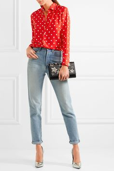 Saint Laurent - Polka-dot Crepe De Chine Shirt - Red - FR46