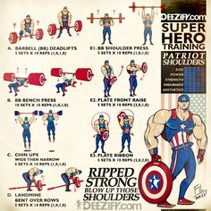 WOD: PATRIOT SHOULDERS    #fitness #workout #wod #superhero #captainamercia