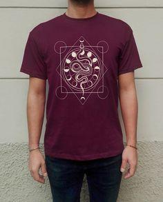 Alchemical Snake Occult Geometric Moon Phases Esoteric T-shirt Screen Printed HandPrinted T-shirt Unisex 100%OrganicCotton BordeauxBurgundy