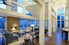 Full mountain views from the comfort of this stylish living room! #breathtaking #fireplace #aspen #previews 205 Roaring Fork Dr, Aspen, CO Luxury Real Estate Property - MLS# 129189 - Coldwell Banker Previews International