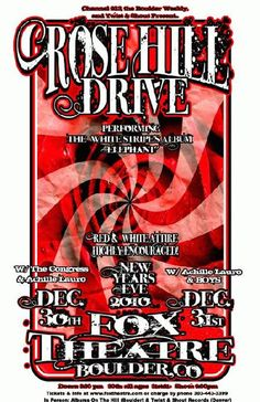 Original concert poster for Rose Hill Drive at The Fox Theatre in Boulder, CO in 2010.  11x17 card stock. Art by Mark Serlo.