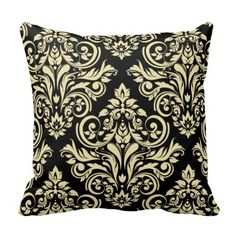 Damask - black ivory throw pillow  $30.95 Created by #ArtStudioPillows