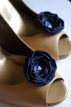 Bridal fabric flowers shoe clips/Navy by NiaPersonBridal on Etsy, $25.00
