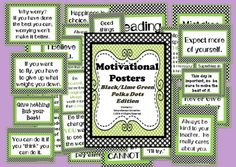 This set of 28 inspirational posters can be mounted, laminated, and hung as room decor, projected as a morning message, and used in character education lessons as anchor charts. They are done in black polka dots with lime green accents without clip art. by chasity
