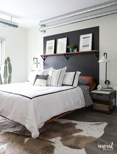 Masculine Modern Farmhouse - Organized and Updated Bedroom Design Rustic Bedroom Design, Modern Farmhouse Bedroom, Home Decor Bedroom, Modern Bedroom, Bedroom Ideas, Bedroom Inspiration, Neutral Bedrooms, White Bedrooms, Bedroom Styles
